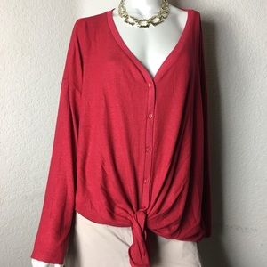 Gibson Red Button up tie Sweater knit 2X